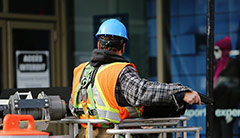 Worker wearing PPE on site